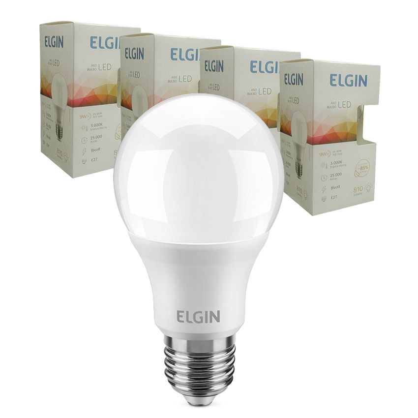 Kit 10 Lampada Led 9w Elgin  Bulbo A60 Inmetro 3000k ou 6500k  - EMPORIO K