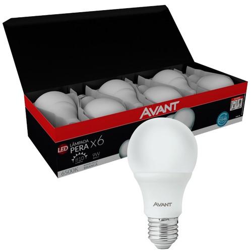 Kit Caixa 6 Lampada Bulbo 9w Branco Frio Avant E-27  - EMPORIO K