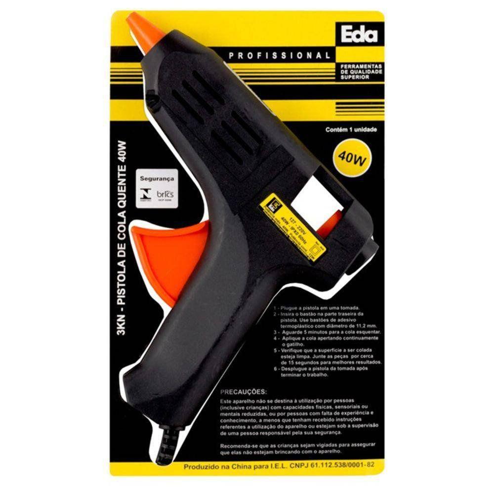 Pistola Cola Quente Silicone 40w Bivolt Selo Inmetro + 4 Bastões Cola  - EMPORIO K