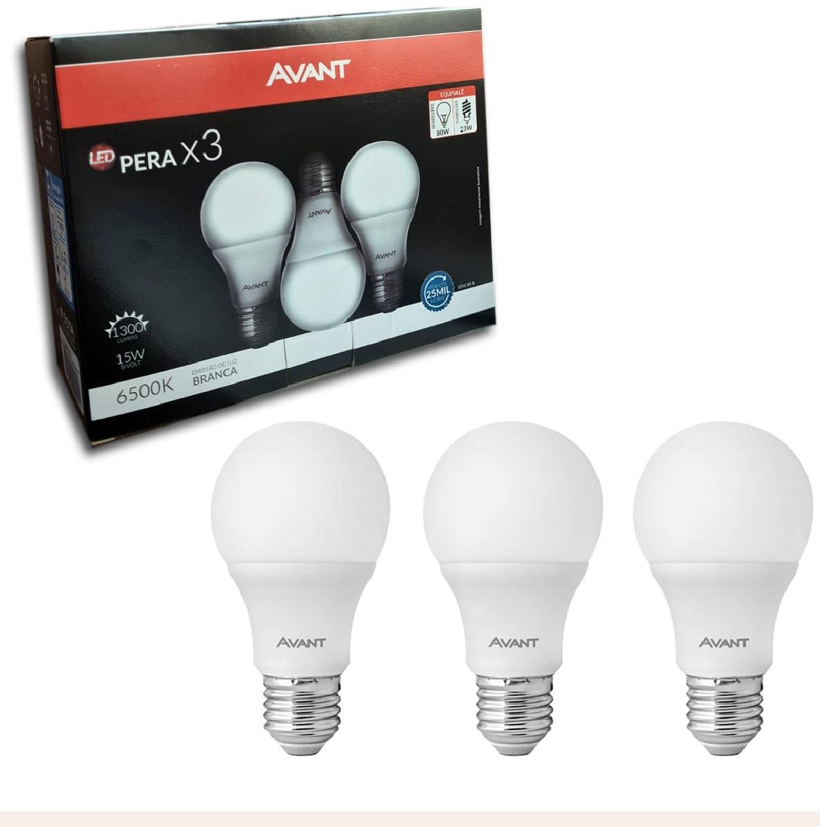Lampada Bulbo 15w Branco Frio PACK 3 PEÇAS Avant  - EMPORIO K
