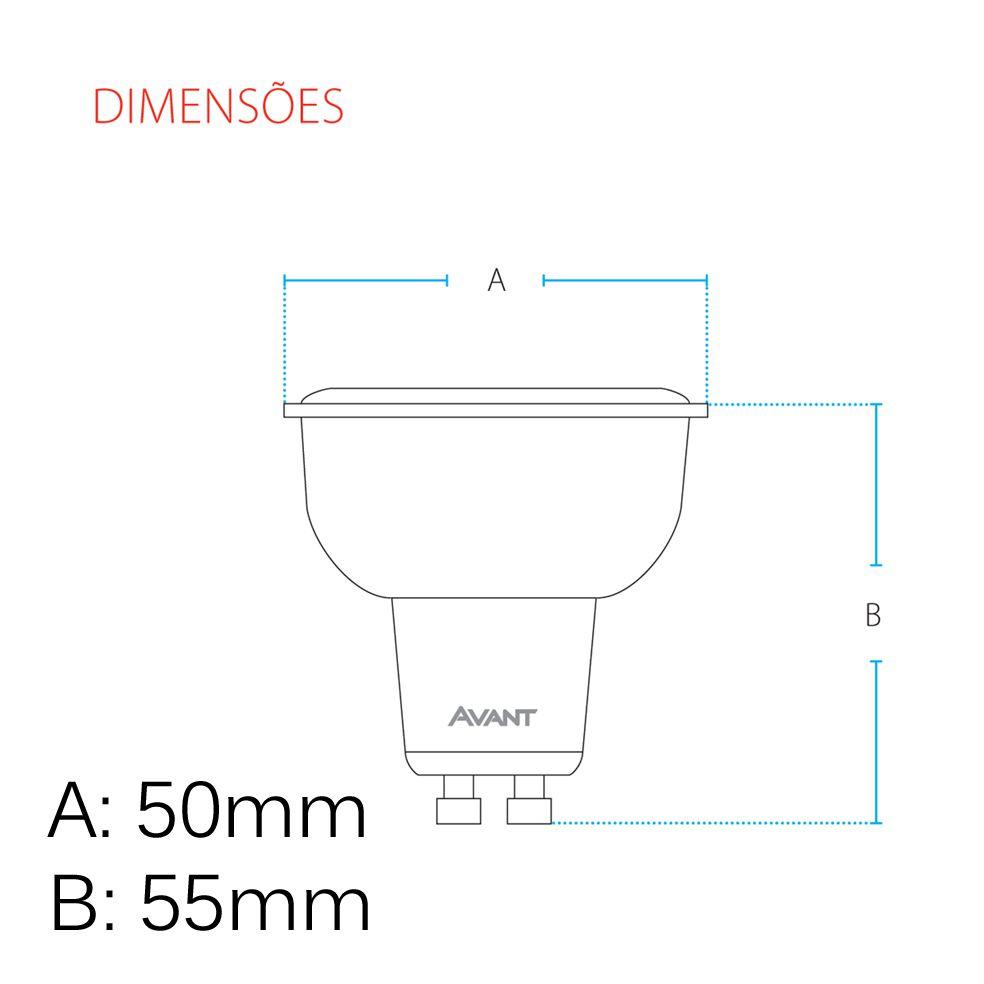 Lampada Led Dicroica Gu10 Mr16 branco frio 4,8w Avant  - EMPORIO K