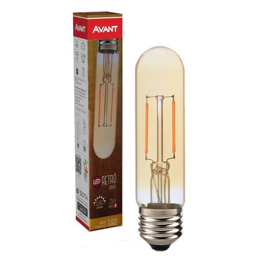 Lampada retro tubular T30 E27 bivolt ambar 2200k 2w Avant  - EMPORIO K