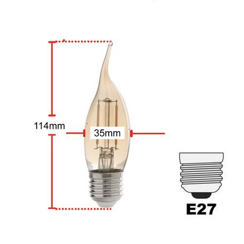 Lampada vela chama retro ambar 2200K E27 bivolt 2w Avant  - EMPORIO K