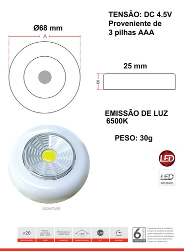 Luminaria Led Redonda Touch Light Signature 6500k Avant  - EMPORIO K