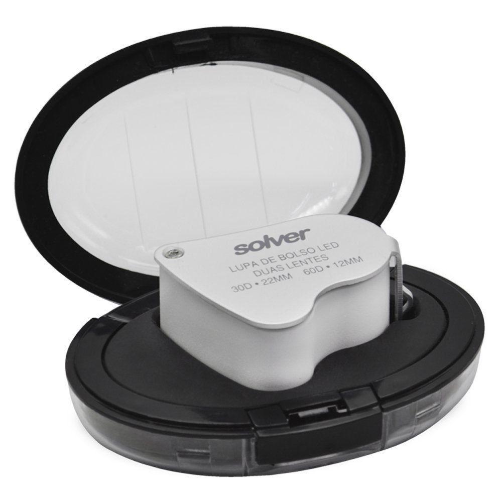 Lupa de Bolso Dupla 22mm e 12mm com LED Solver SLD-132  - EMPORIO K
