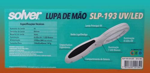 Lupa De Mão Com Led 8 Uv 4x Solver Slp-193  - EMPORIO K