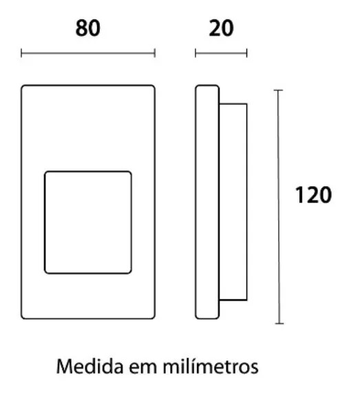 Luz Noturna Led 0,5W Branco Quente 3000K Quadrado  - EMPORIO K