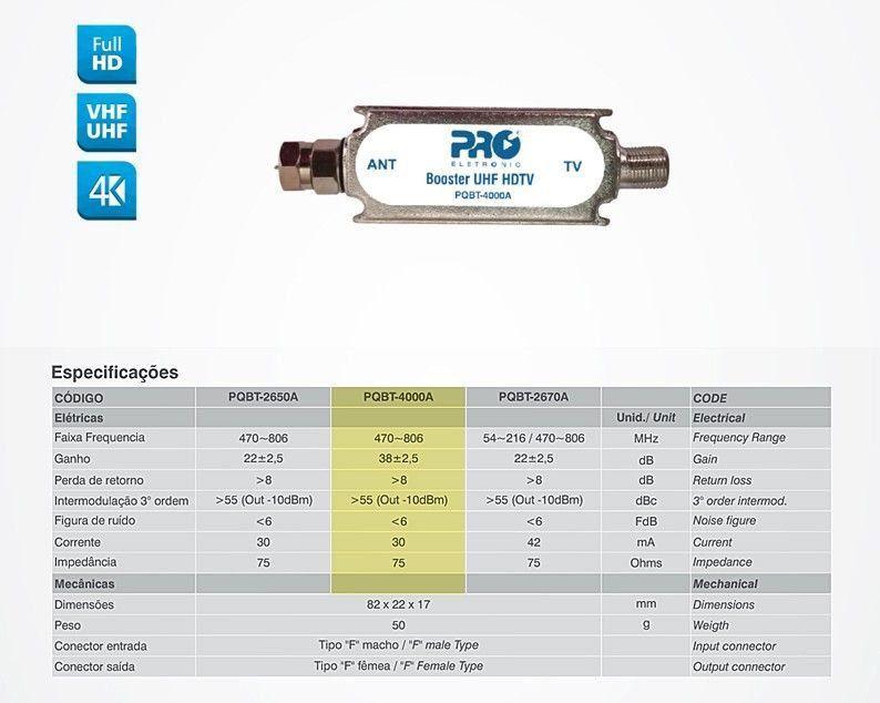 Mini Booster Uhf 40db Digital Analogico PQBT 4000A Proeletronic  - EMPORIO K