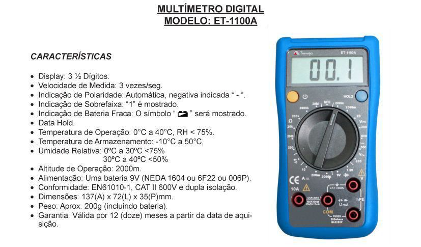 Multimetro Digital ET-1100A  Minipa  - EMPORIO K