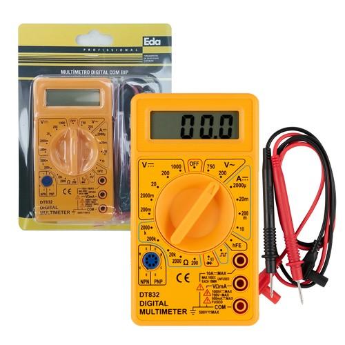 Multímetro Digital Cabo Teste Dt-832 Com Bip 0cn Eda  - EMPORIO K