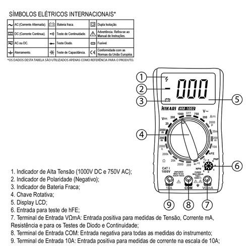 Multímetro Digital Hm-1002 Hikari  - EMPORIO K