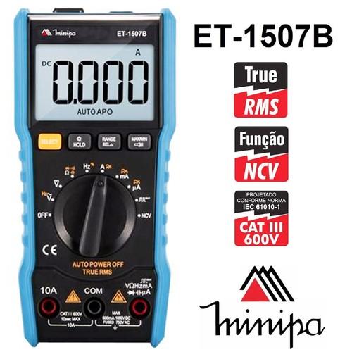 Multímetro True Rms Beep Capacímetro Ncv Minipa Et-1507b  - EMPORIO K