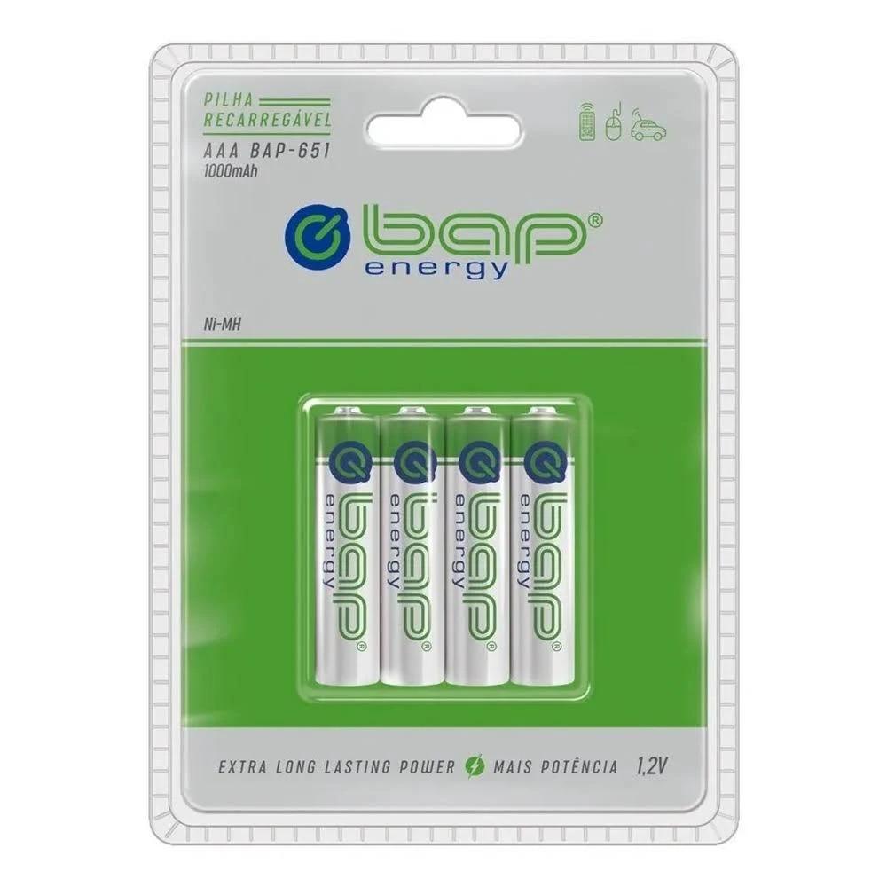 Kit 4 Pilha Recarregavel Palito AAA 1.2v 1000mah Bap65  - EMPORIO K