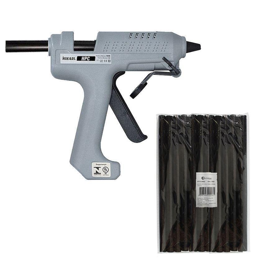 Kit Pistola Cola Quente Hikari Hpc-280 + 1 Kg Cola Preta  - EMPORIO K
