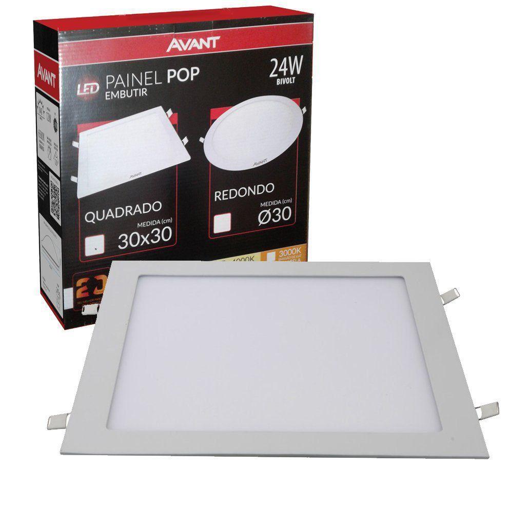 Plafon Led quadrado de embutir 24w Avant  - EMPORIO K