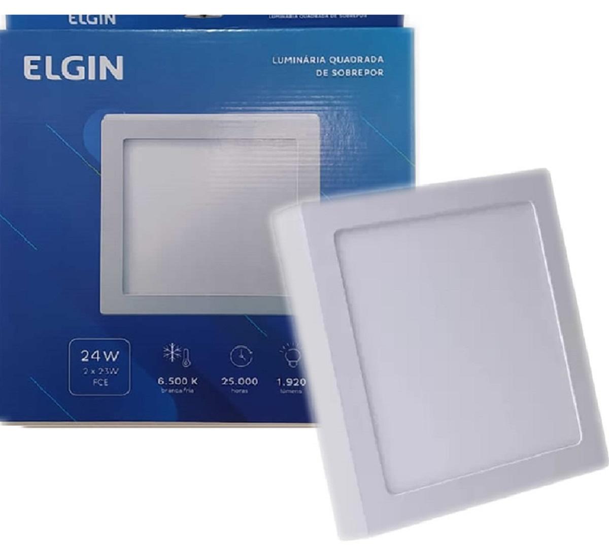 Plafon Led Quadrado Sobrepor 24w Branco Frio Elgin  - EMPORIO K