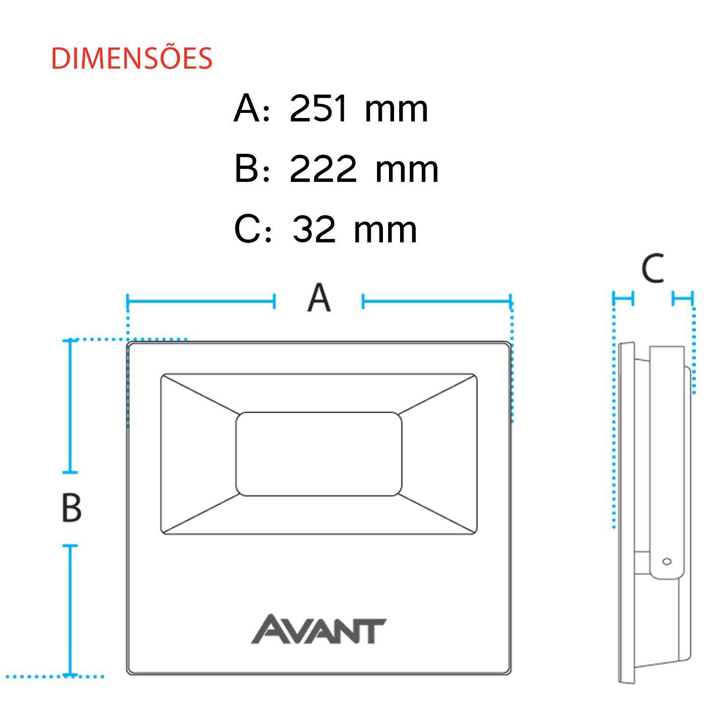 Refletor Led Cob Slim Ip65 Branco Frio 6500k 100w Avant  - EMPORIO K
