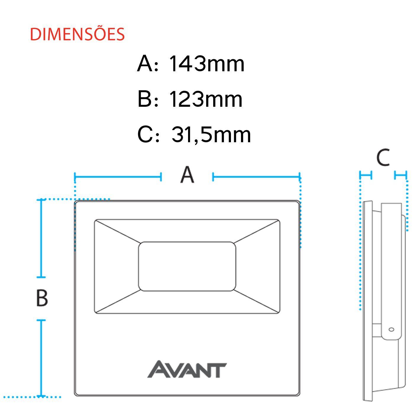 Refletor Led Cob Ip65 branco frio 6500k 30w Avant  - EMPORIO K
