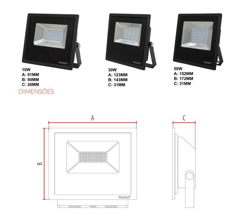 Refletor Led Cob Slim Ip65 branco frio 6500k 30w Avant  - EMPORIO K