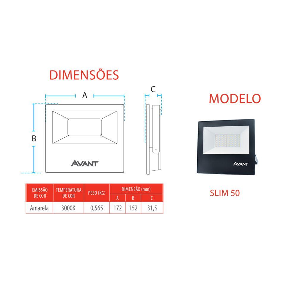 Refletor Led Cob Slim Ip65 branco quente 3000k 50w Avant  - EMPORIO K