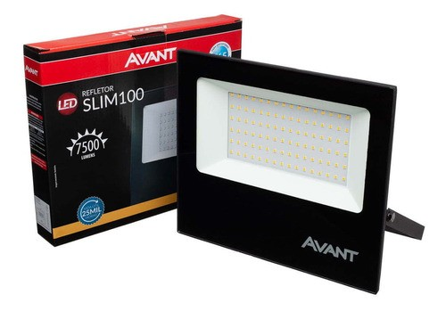 Refletor Led Slim Ip65 Branco Quente 3000k 100w Avant   - EMPORIO K
