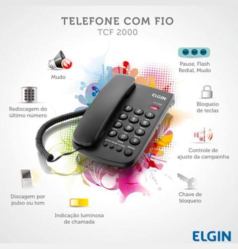 Telefone De Mesa Com Fio E Bloqueador Preto Tcf2000 Elgin  - EMPORIO K