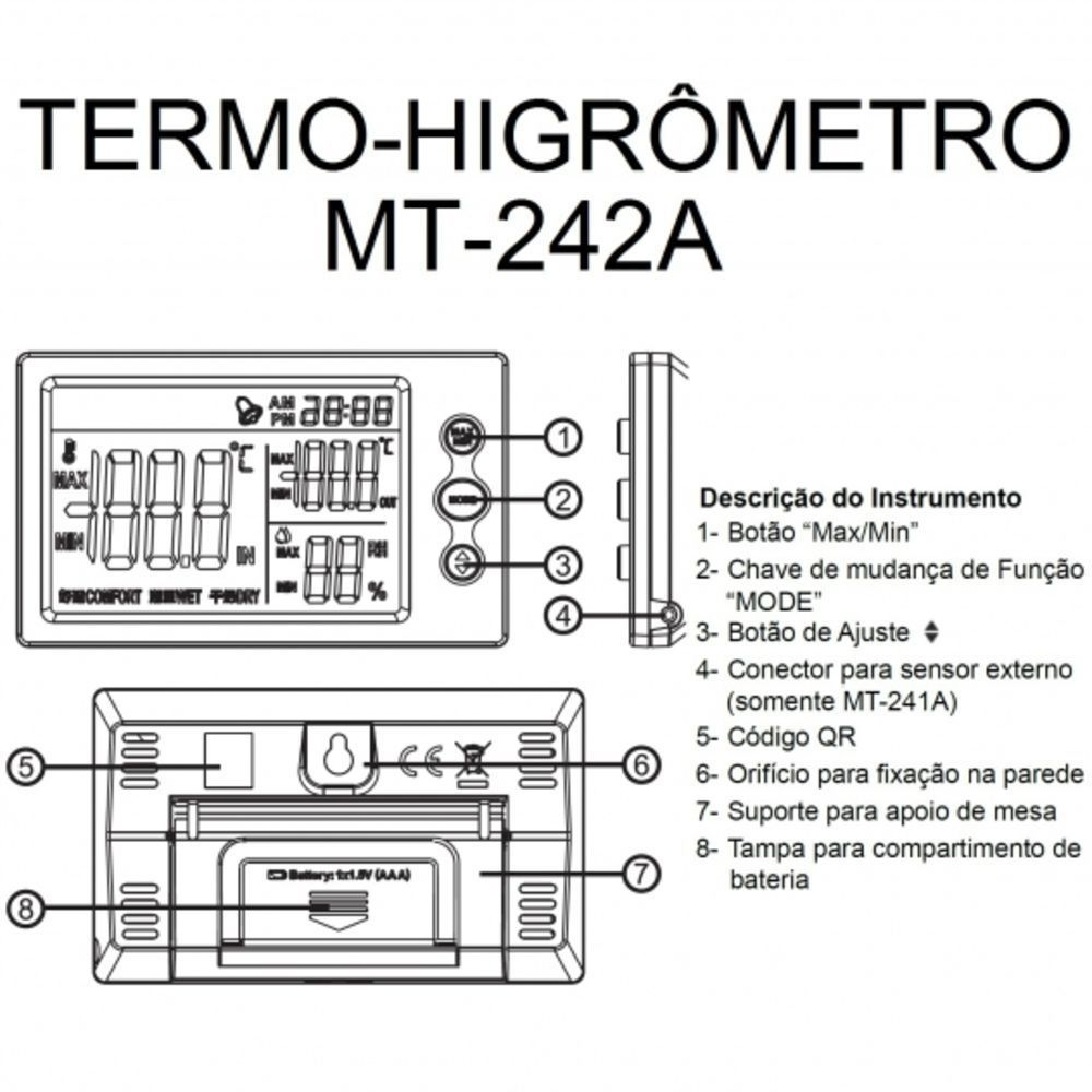 Termo-higrômetro Temperatura -10 a 50°C Umidade 10 a 90% 1 Canal Minipa MT-242A  - EMPORIO K