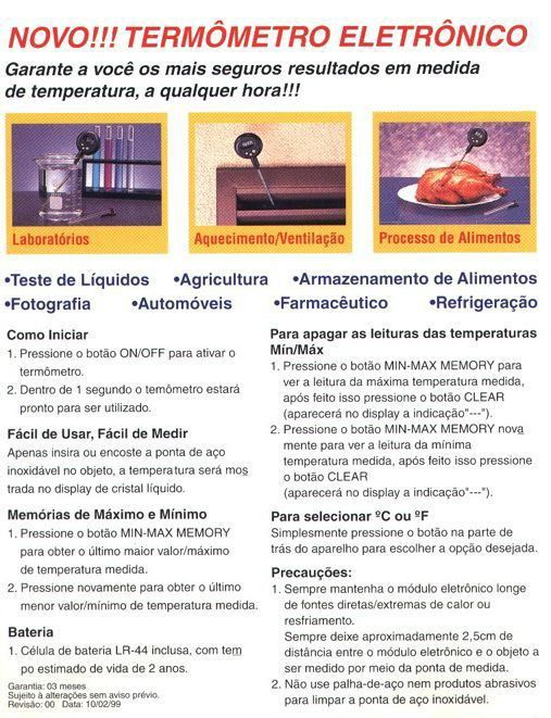 Termometro Culinario Digital De Vareta/espeto Mv-363 Minipa  - EMPORIO K