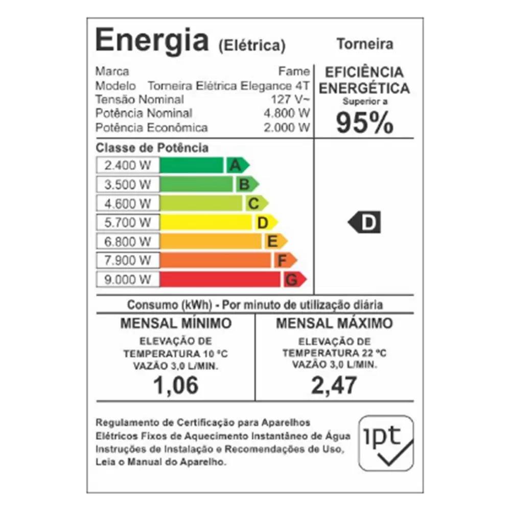 Torneira Elétrica Elegance Bancada Branca 4t Fame  - EMPORIO K