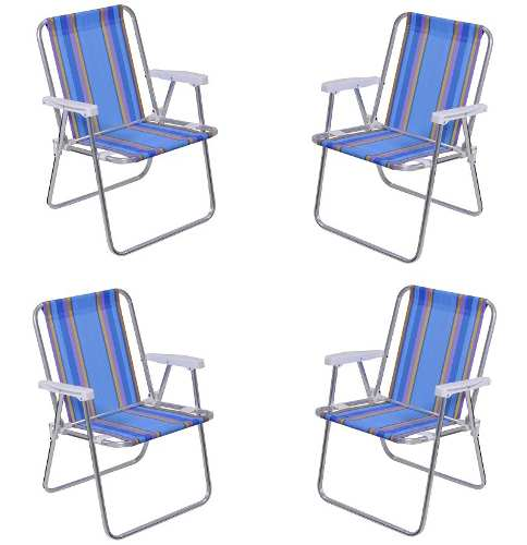 Kit Com 04 Cadeiras Alta Aluminio - Mor - Loja Portal