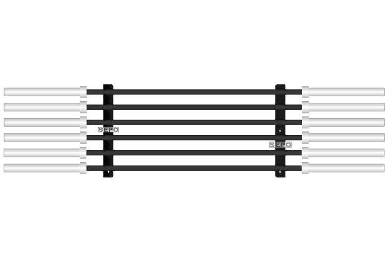 Suporte para 6 Barras Olímpicas Horizontal Crossfit/Fitness - Preto - Loja Portal