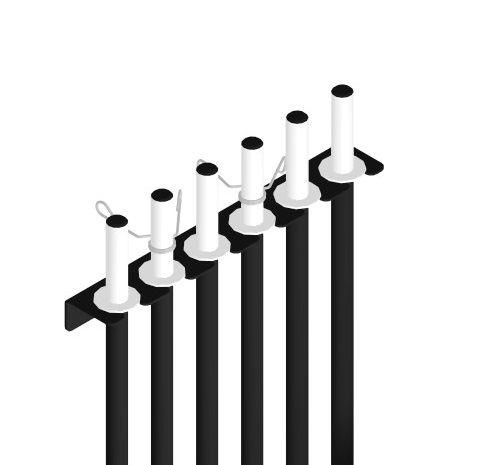 Suporte de Parede Vertical para até 6 Barras de Musculação - Preto - Loja Portal