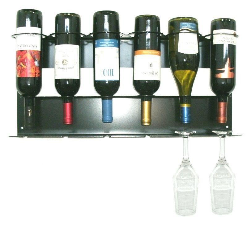 Adega Prateleira Vinho de Parede para 6 Garrafas e 6 Taças  - Loja Portal
