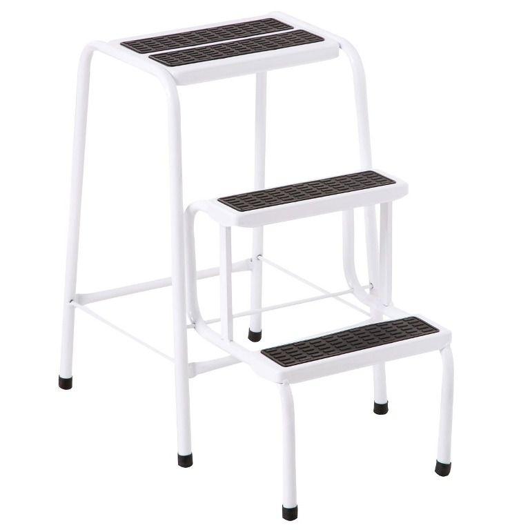 Escada Banqueta Branca 3 Degraus - Metalmix - Loja Portal