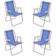Kit Com 04 Cadeiras Alta Aluminio - Mor