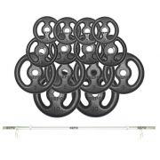 Kit Anilhas de Ferro Fundido 60 Kg + Barra de Tubo Oca 120cm
