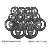 Kit Anilhas de Ferro Fundido 60 Kg + 02 Barras de Tubo 40cm