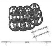 Kit com 40 Kg de Anilhas Ferro Fundido + 1 Barra 160cm + 2 Barras 40cm