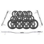 Kit de Anilhas Ferro Fundido 40Kg + 02 Barras 40cm + 01 Barra W de 120cm