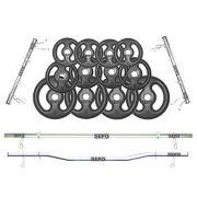 Kit Anilhas Ferro 60kg + Barras 40cm + Barra 120cm + Barra W