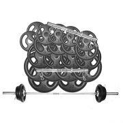 Kit Anilhas e Barras Musculação Completo 29 peças