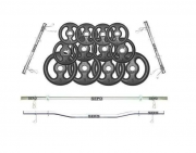 Kit Anilhas Ferro 50kg + Barras 40cm + Barra 120cm + Barra W