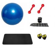 Kit Bola Suíça para Pilates, Colchonete EVA, Par Tornozeleira 1kg e Par de Halteres 1kg