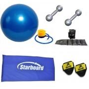 Kit Bola Suíça para Pilates, Colchonete, Tornozeleira e Par de Halteres