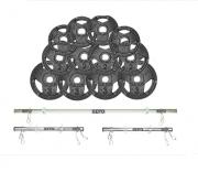 Kit de Anilhas Sport Luxo 36 Kg + Barras com Presilhas