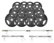 Kit de Anilhas Sport Luxo 44 Kg + Barras com Presilhas