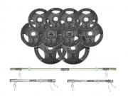 Kit de Anilhas Sport Luxo 50 Kg + Barras com Presilhas