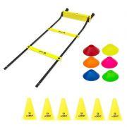 Kit Treinamento Funcional Escada Agilidade + 06 Cones + 06 Mini Cones