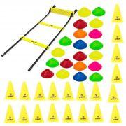 Kit Treinamento Funcional Escada Agilidade + 20 Cones + 20 Mini Cones
