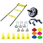 Kit Treinamento Funcional Escada Agilidade + 6 Cones + 6 Mini Cones + Roda + Kit 3 extensores + Apoi